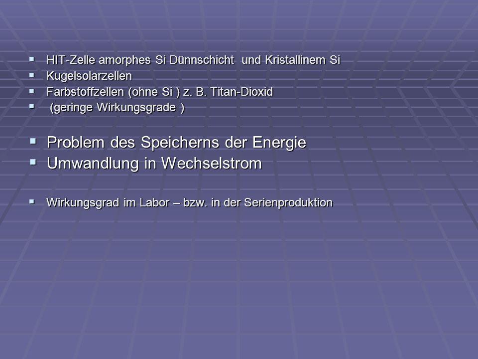 Problem des Speicherns der Energie Umwandlung in Wechselstrom