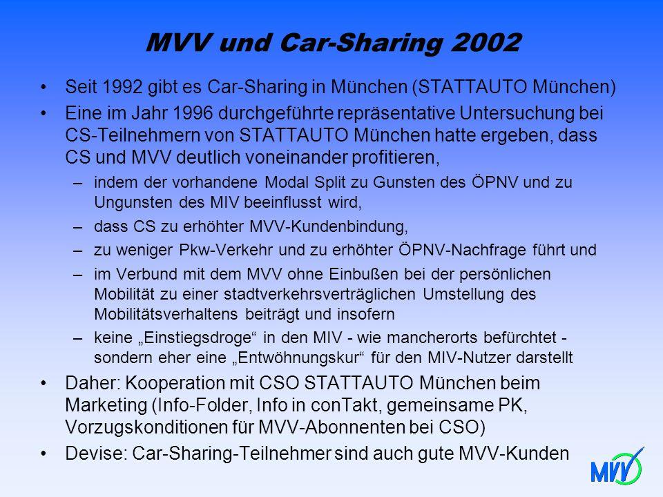 MVV und Car-Sharing 2002 Seit 1992 gibt es Car-Sharing in München (STATTAUTO München)