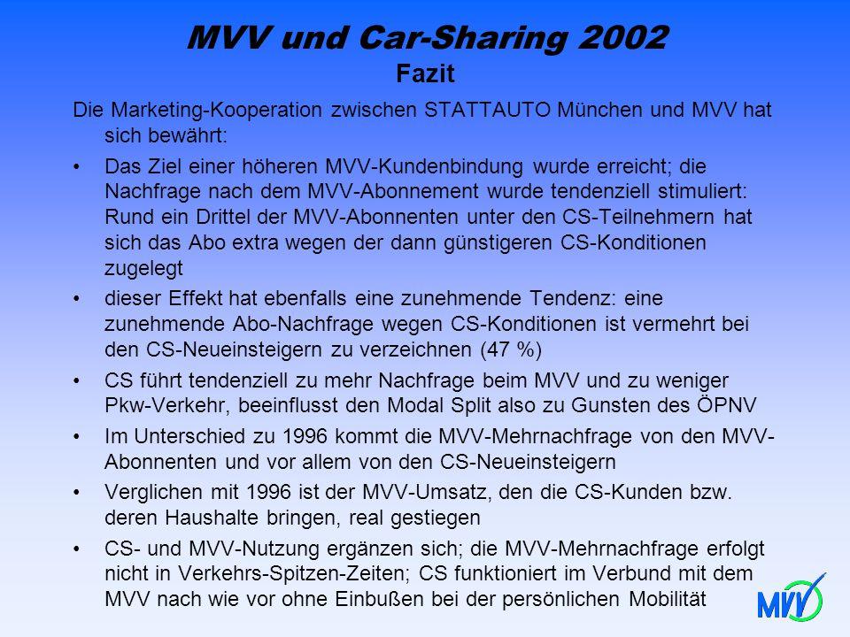 MVV und Car-Sharing 2002 Fazit