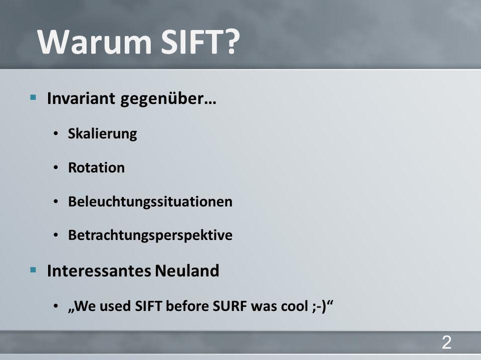 Warum SIFT Invariant gegenüber… Interessantes Neuland Skalierung