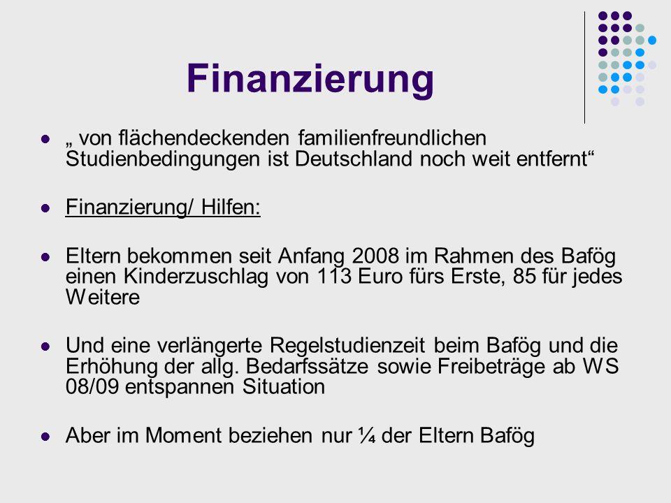"""Finanzierung """" von flächendeckenden familienfreundlichen Studienbedingungen ist Deutschland noch weit entfernt"""