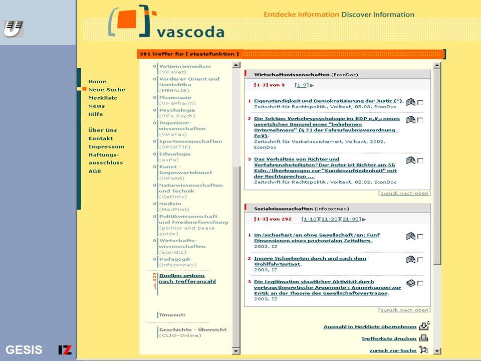 Vascoda Ergebnisliste staatsfunktion