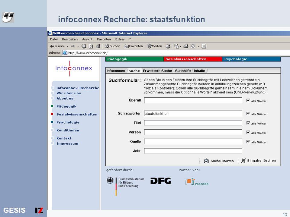 infoconnex Recherche: staatsfunktion
