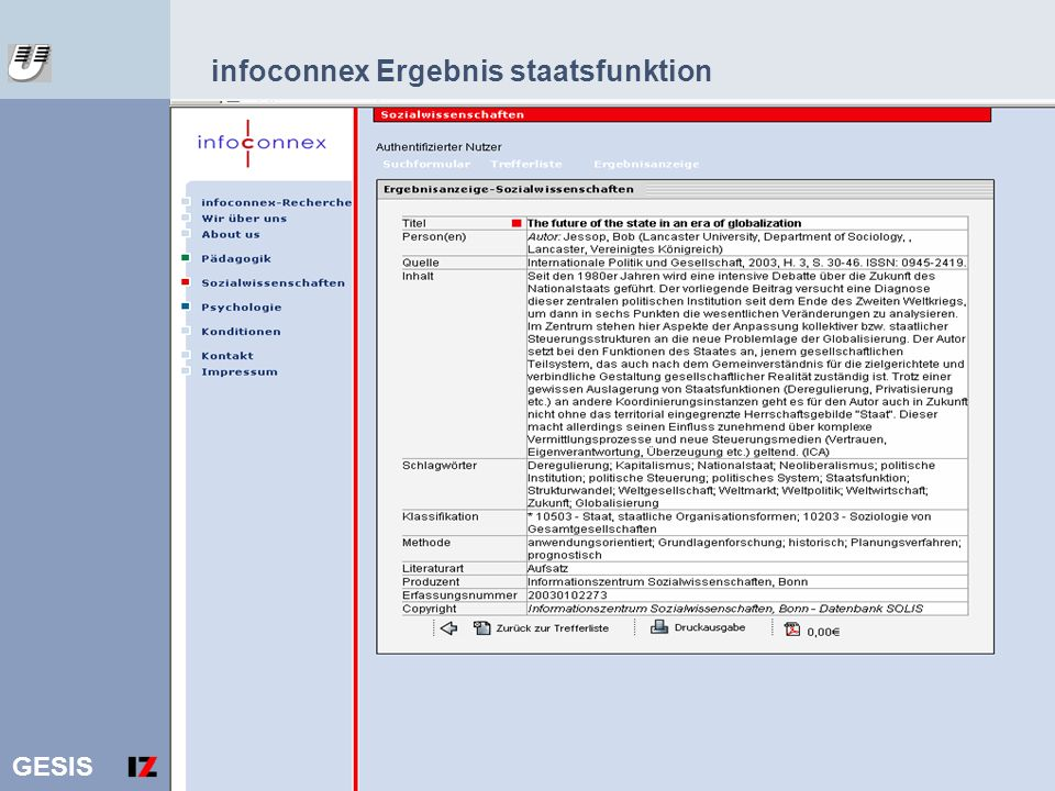 infoconnex Ergebnis staatsfunktion