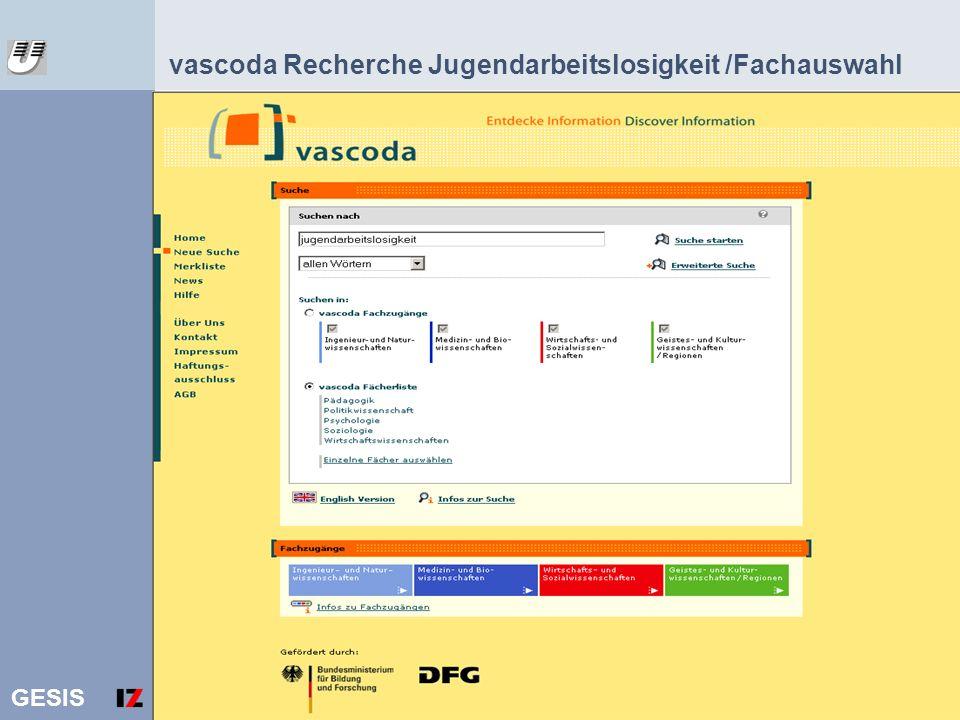 vascoda Recherche Jugendarbeitslosigkeit /Fachauswahl