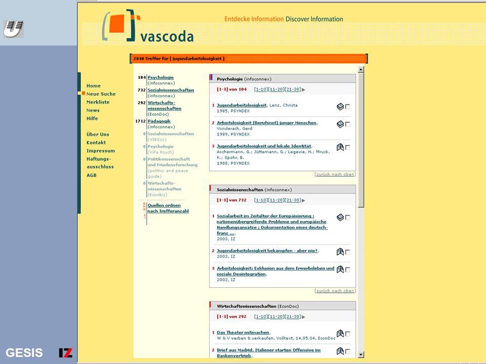 vascoda Ergebnisliste Jugendarbeitslosigkeit