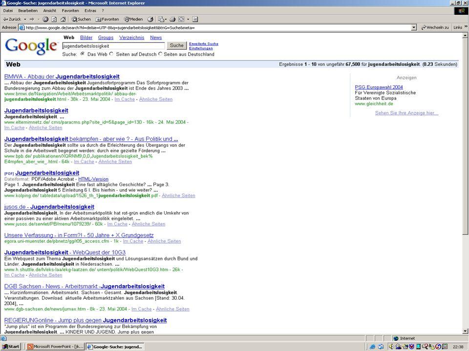 Google Jugendarbeitslosigkeit