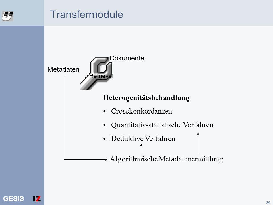 Transfermodule Heterogenitätsbehandlung Crosskonkordanzen