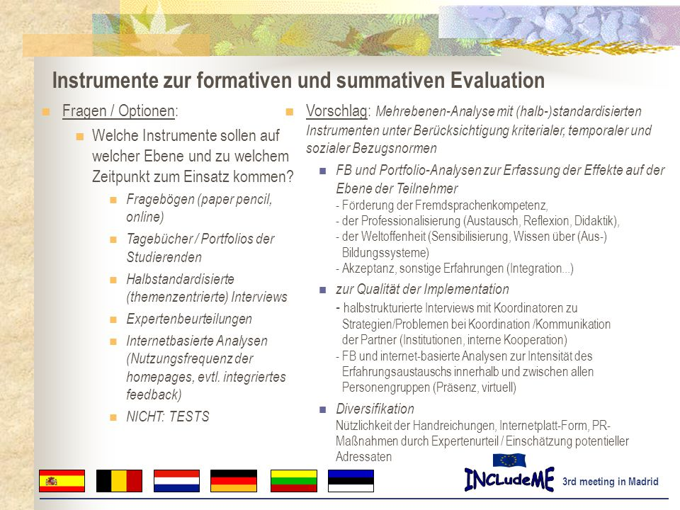 Instrumente zur formativen und summativen Evaluation