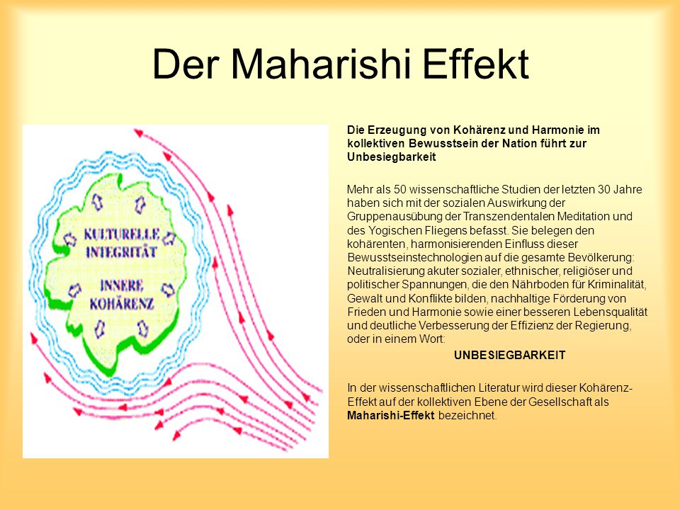 Der Maharishi Effekt Die Erzeugung von Kohärenz und Harmonie im kollektiven Bewusstsein der Nation führt zur Unbesiegbarkeit.