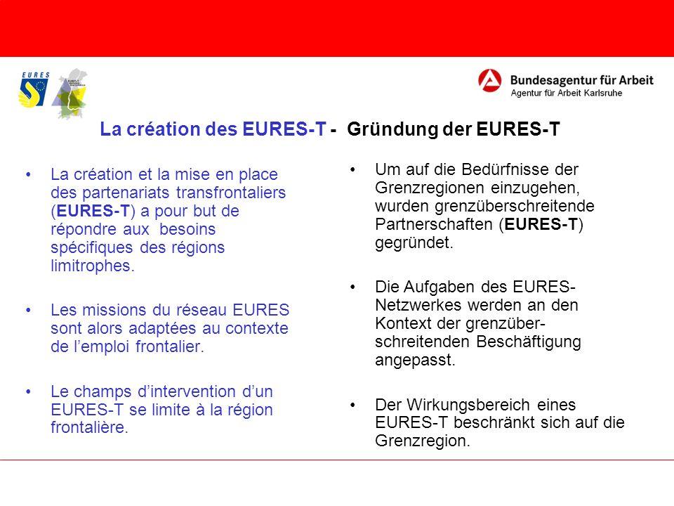 La création des EURES-T - Gründung der EURES-T