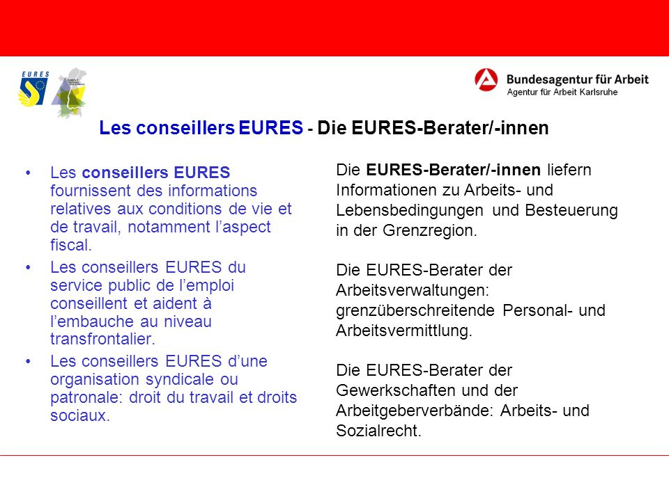 Les conseillers EURES - Die EURES-Berater/-innen