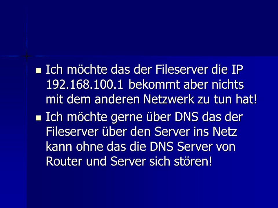 Ich möchte das der Fileserver die IP 192. 168. 100