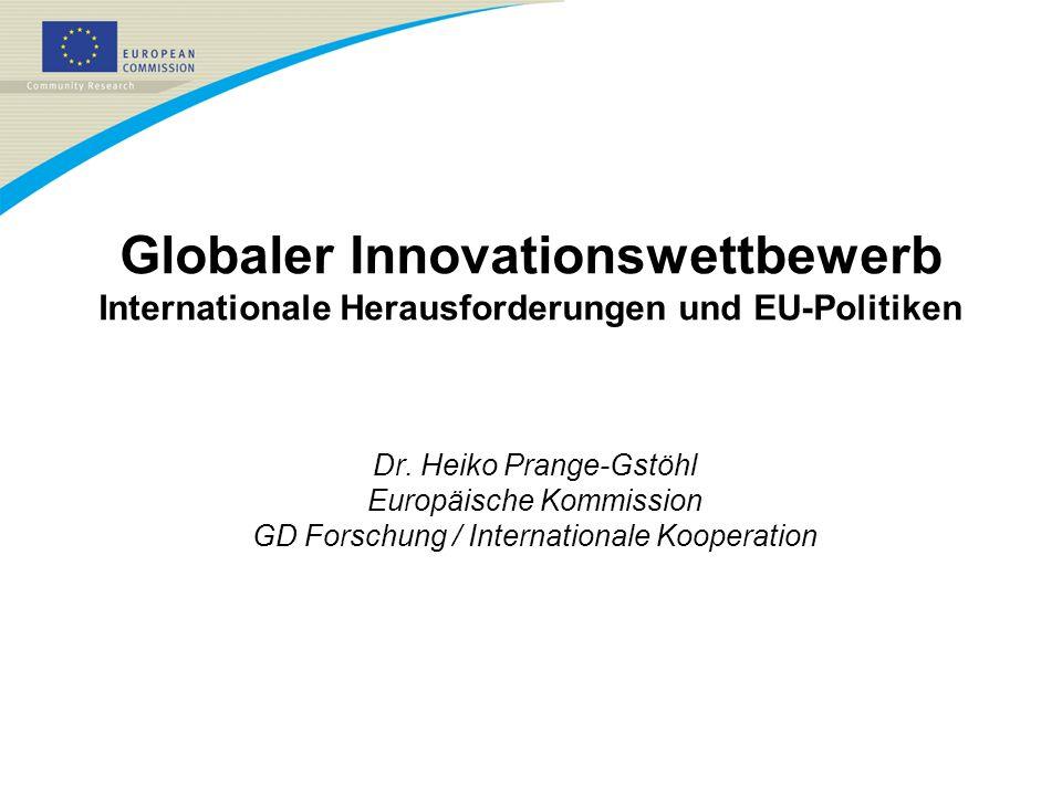 21/03/2017Globaler Innovationswettbewerb Internationale Herausforderungen und EU-Politiken. Dr. Heiko Prange-Gstöhl.