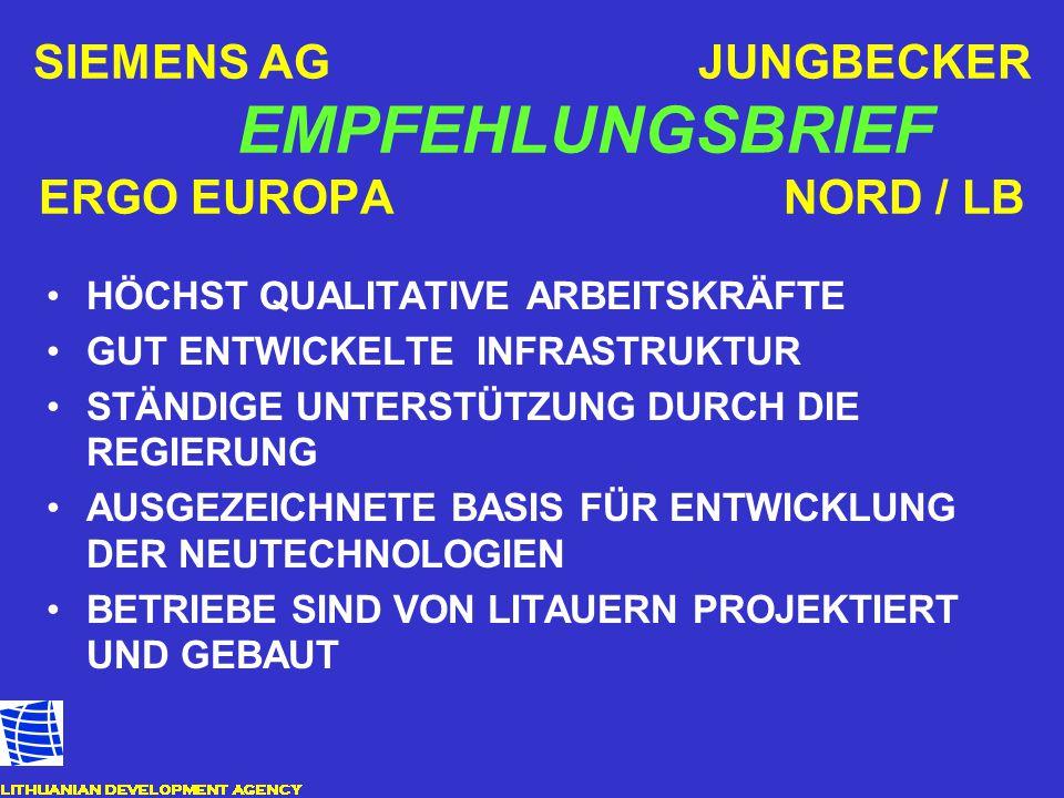 SIEMENS AG JUNGBECKER EMPFEHLUNGSBRIEF ERGO EUROPA NORD / LB