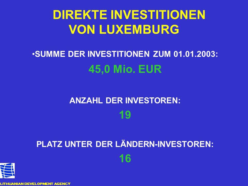 DIREKTE INVESTITIONEN VON LUXEMBURG