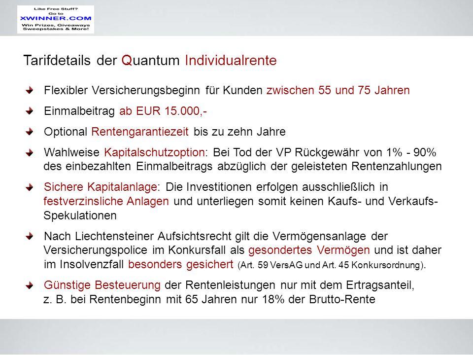 Tarifdetails der Quantum Individualrente