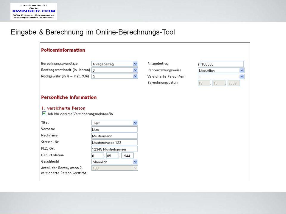 Eingabe & Berechnung im Online-Berechnungs-Tool