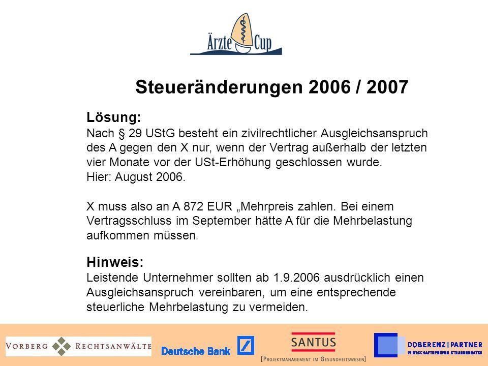 Steueränderungen 2006 / 2007. Lösung: