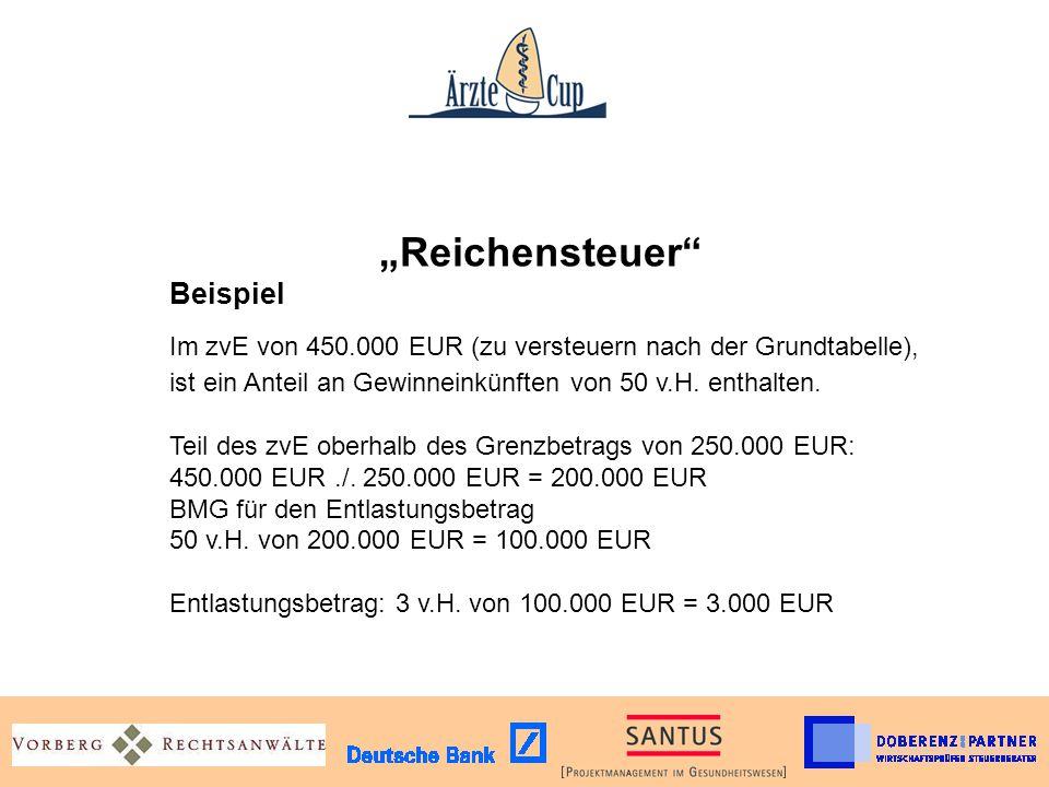 """""""Reichensteuer . Beispiel. Im zvE von 450"""