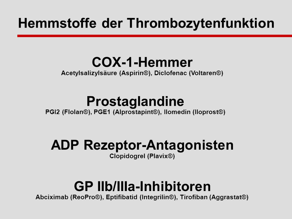 Hemmstoffe der Thrombozytenfunktion
