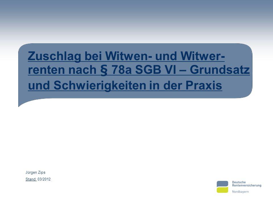Zuschlag bei Witwen- und Witwer-