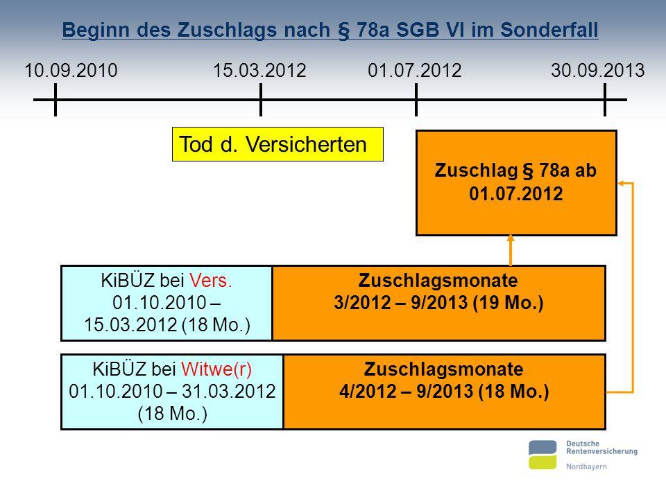 Beginn des Zuschlags nach § 78a SGB VI im Sonderfall