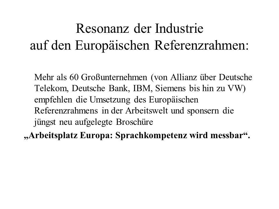 Resonanz der Industrie auf den Europäischen Referenzrahmen: