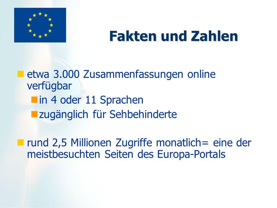 Fakten und Zahlen etwa 3.000 Zusammenfassungen online verfügbar