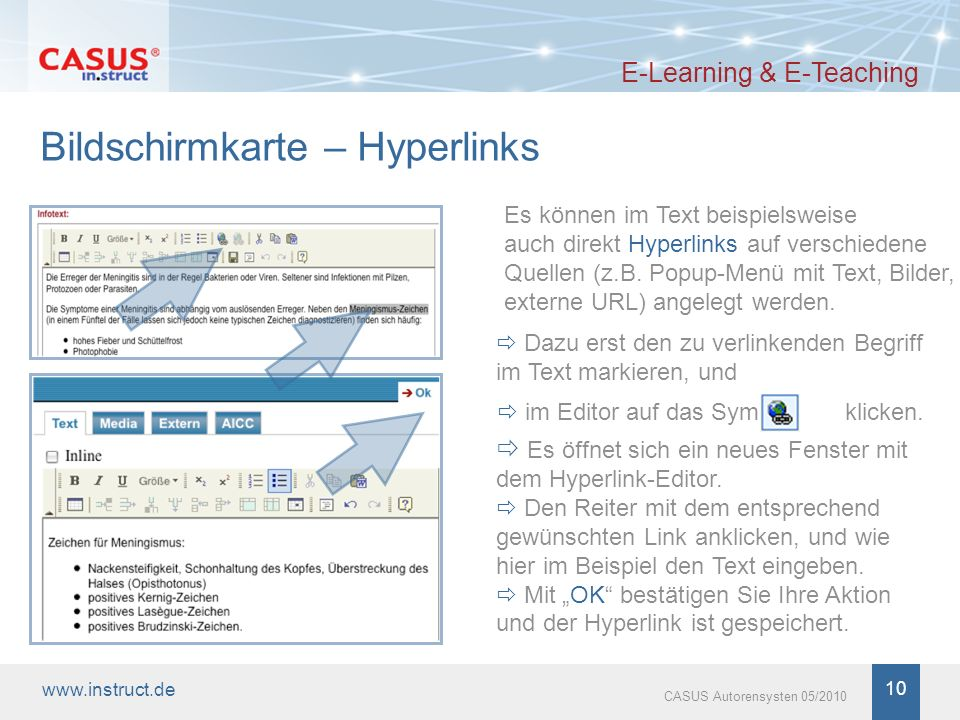 Bildschirmkarte – Hyperlinks