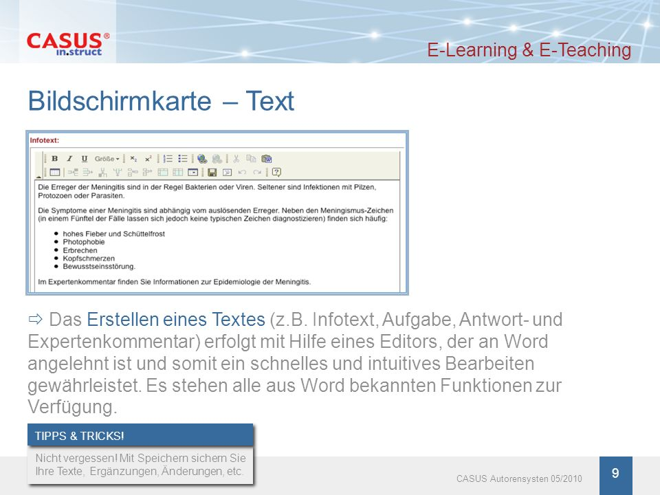 Bildschirmkarte – Text