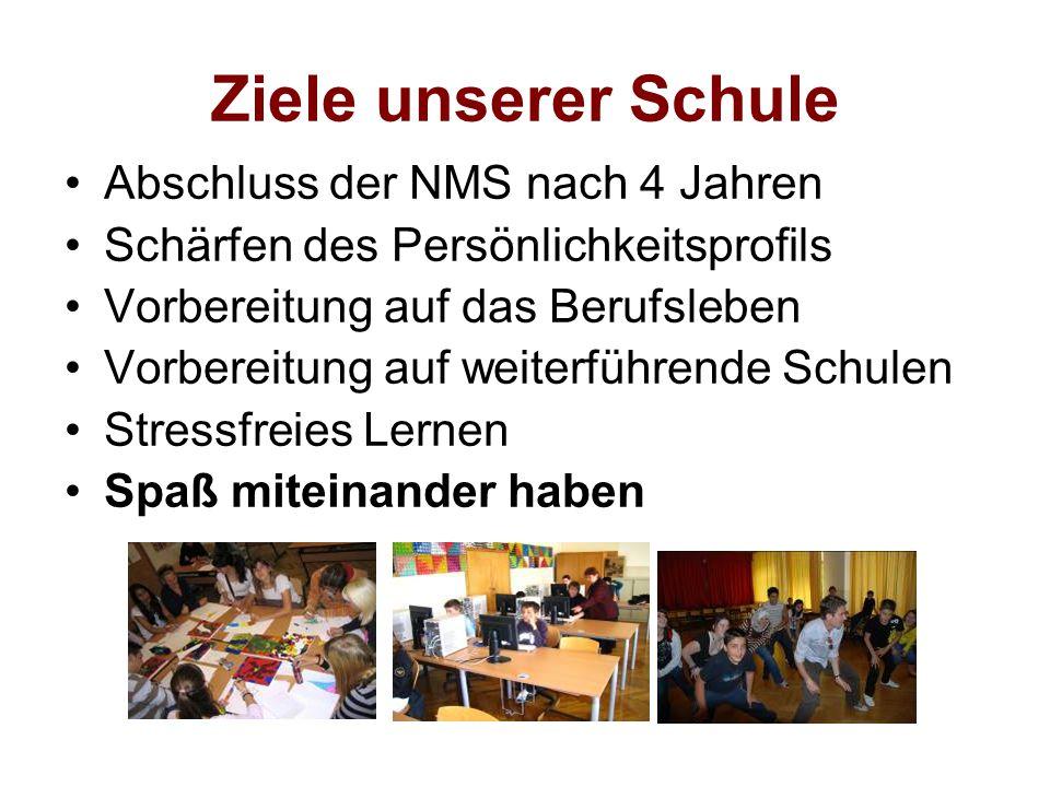 Ziele unserer Schule Abschluss der NMS nach 4 Jahren