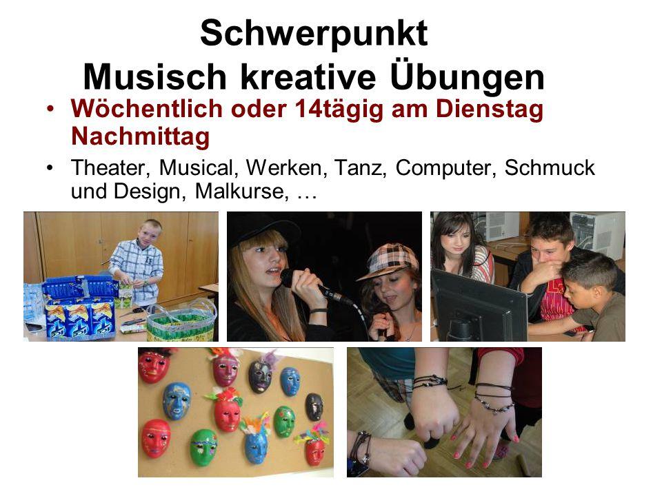 Schwerpunkt Musisch kreative Übungen
