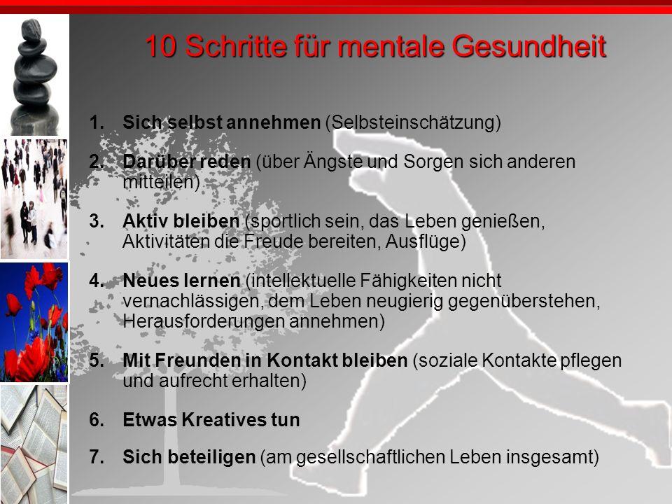 10 Schritte für mentale Gesundheit