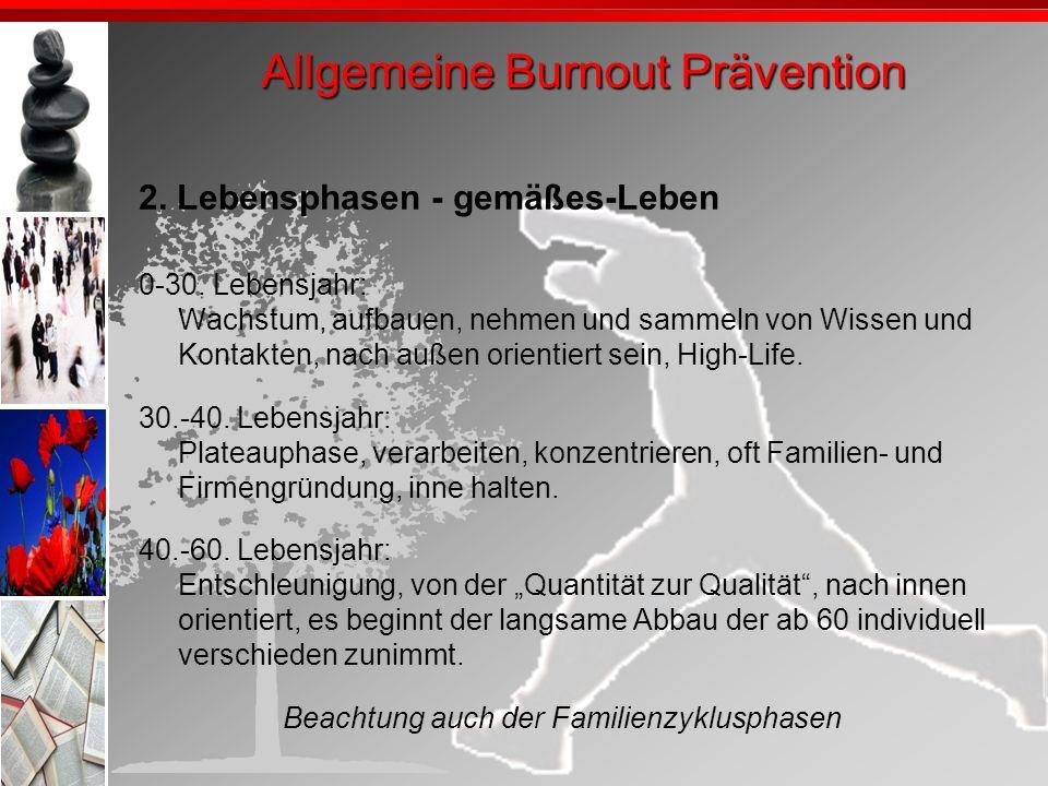 Allgemeine Burnout Prävention
