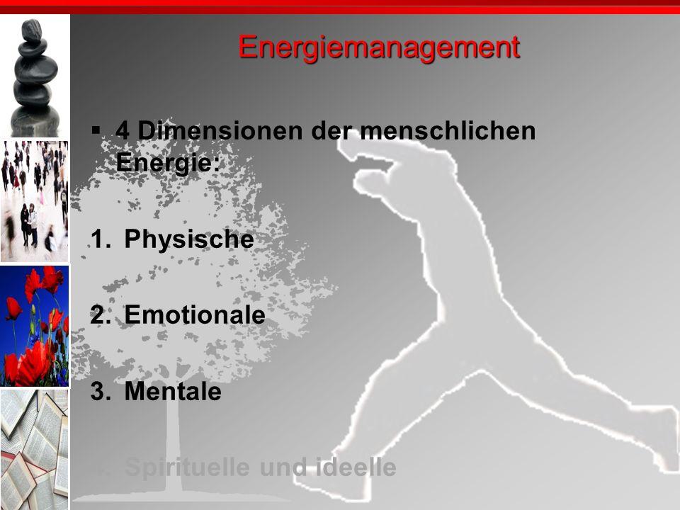 Energiemanagement 4 Dimensionen der menschlichen Energie: Physische