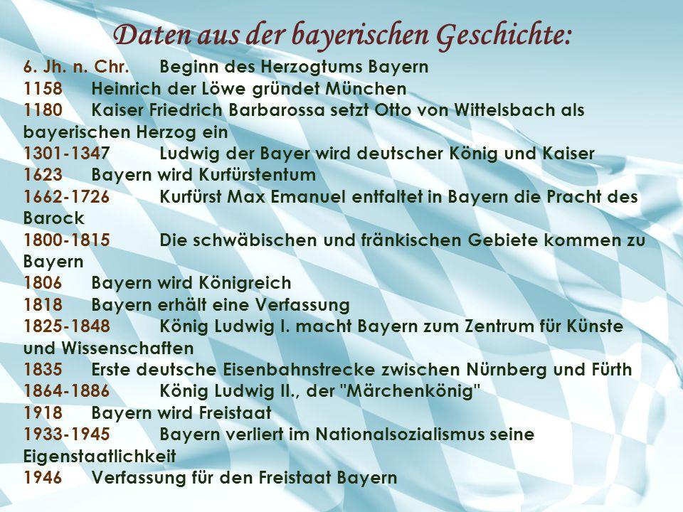 Daten aus der bayerischen Geschichte: