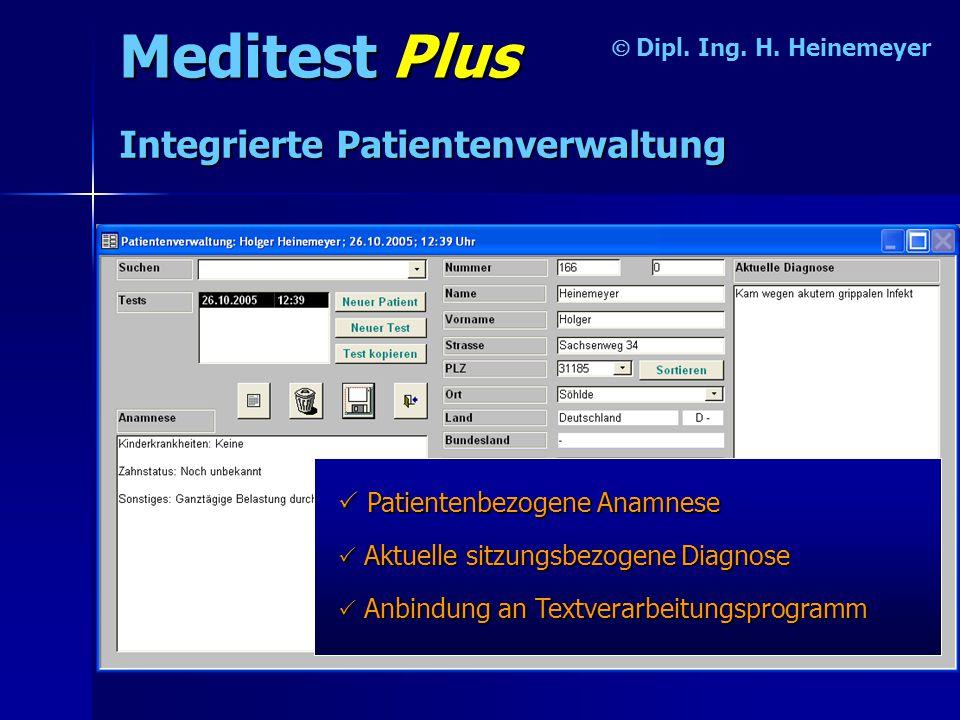 Meditest Plus Integrierte Patientenverwaltung