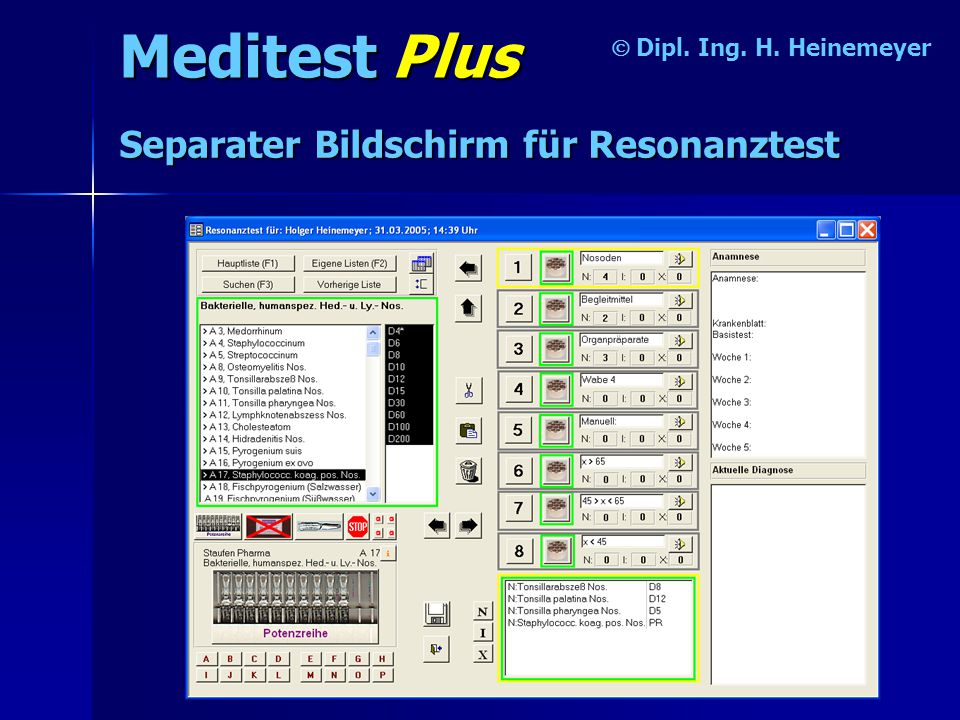 Meditest Plus Separater Bildschirm für Resonanztest Ó