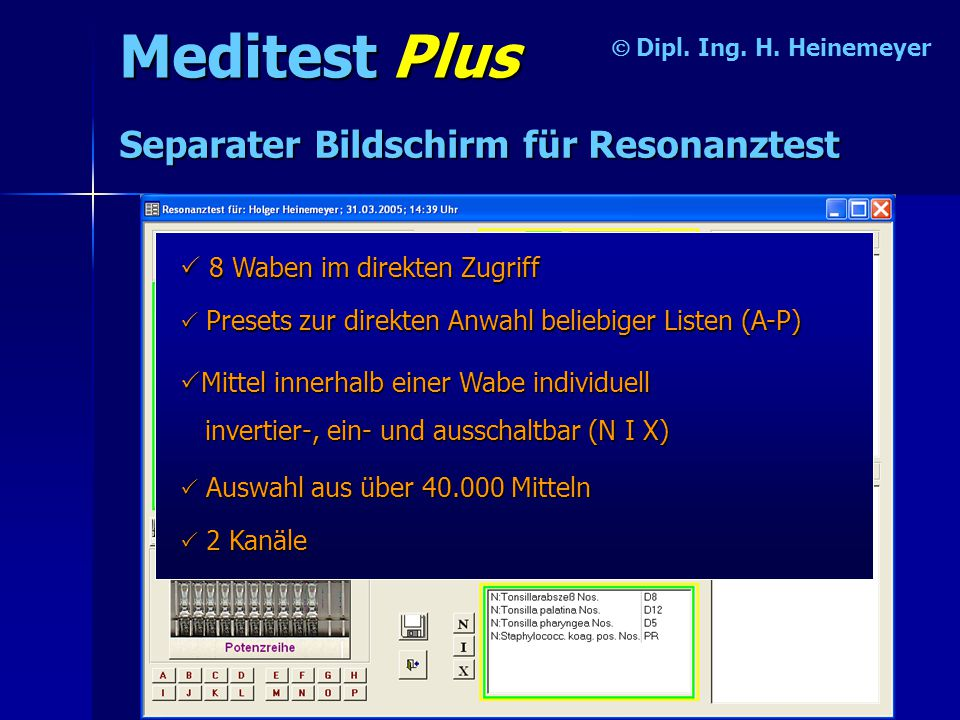 Meditest Plus Separater Bildschirm für Resonanztest