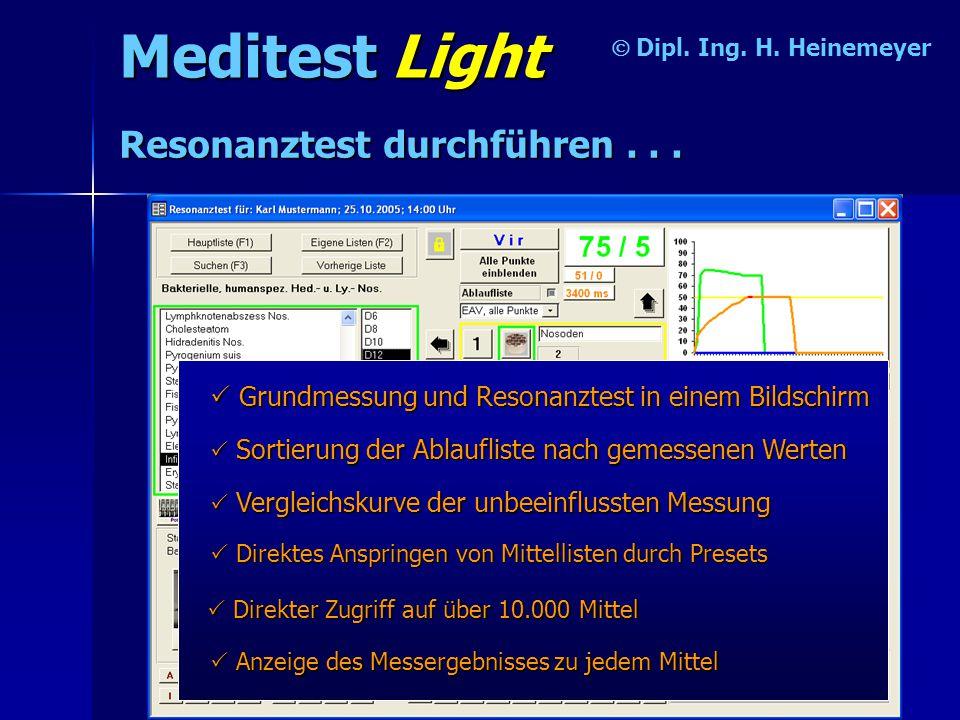 Meditest Light Resonanztest durchführen . . .