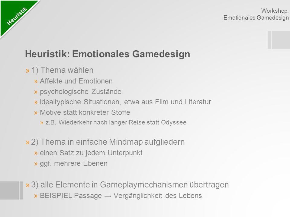 Heuristik: Emotionales Gamedesign