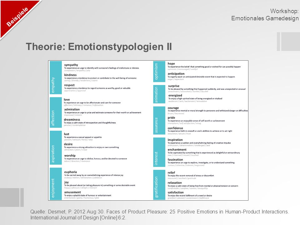 Theorie: Emotionstypologien II