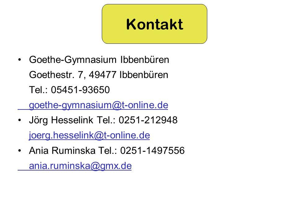 Kontakt Goethe-Gymnasium Ibbenbüren Goethestr. 7, 49477 Ibbenbüren