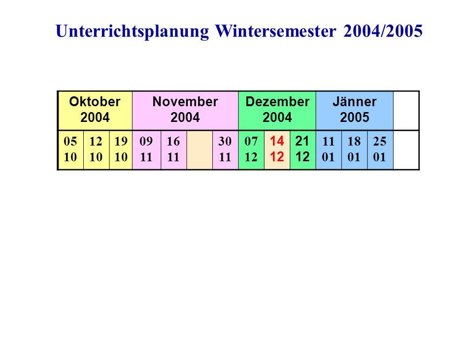 Unterrichtsplanung Wintersemester 2004/2005