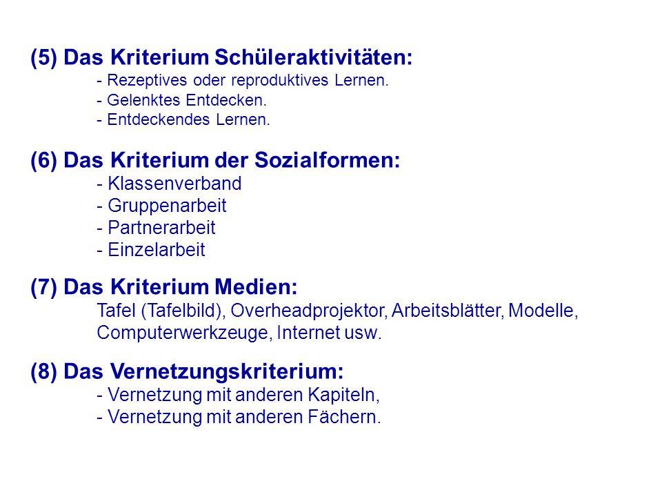 (5) Das Kriterium Schüleraktivitäten: