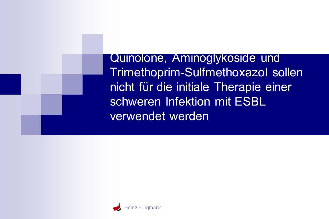 Quinolone, Aminoglykoside und Trimethoprim-Sulfmethoxazol sollen nicht für die initiale Therapie einer schweren Infektion mit ESBL verwendet werden