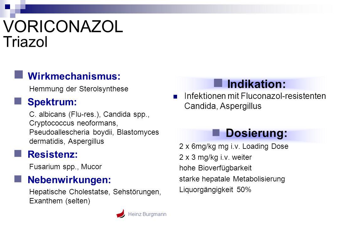 VORICONAZOL Triazol Wirkmechanismus: Indikation: Spektrum: Dosierung: