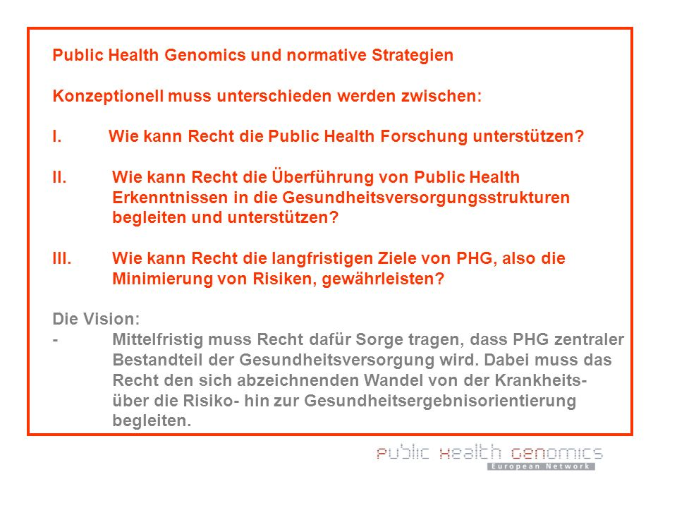 Public Health Genomics und normative Strategien