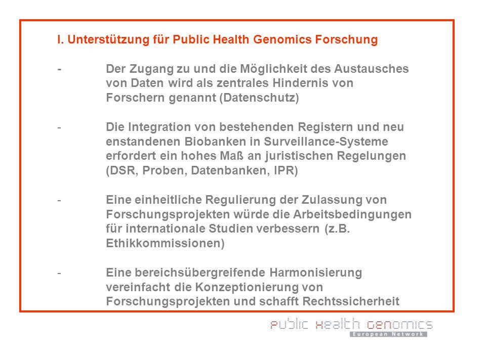 I. Unterstützung für Public Health Genomics Forschung